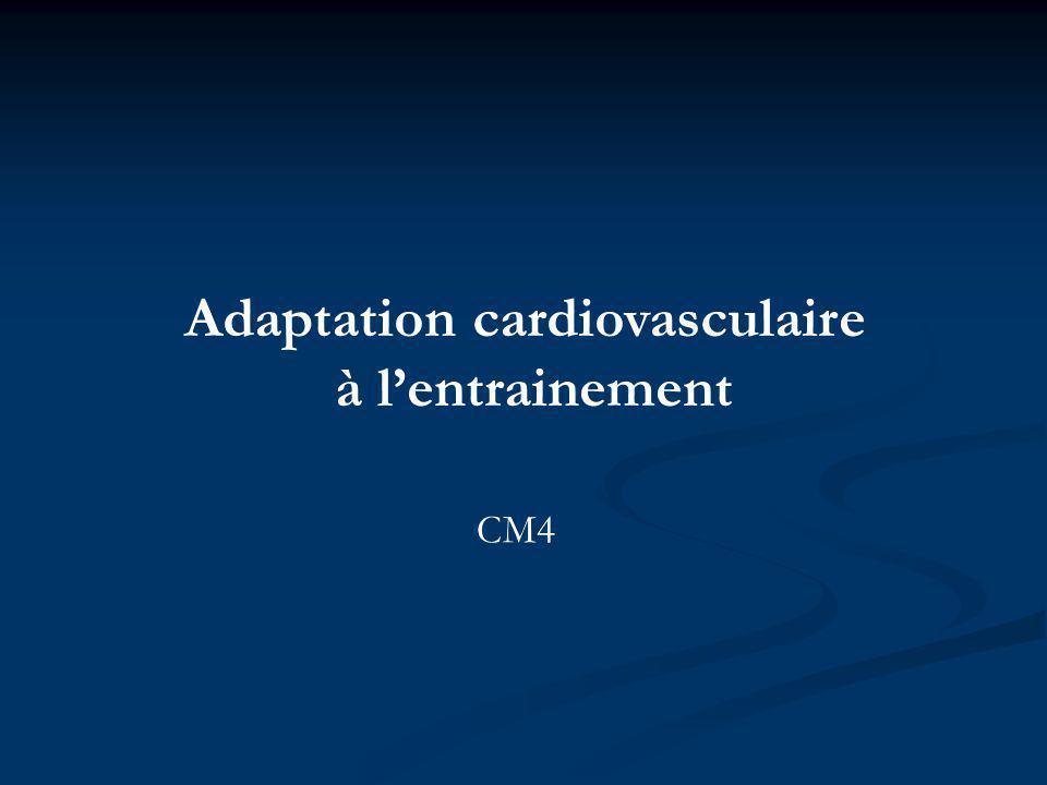 Adaptation cardiovasculaire à lentrainement CM4