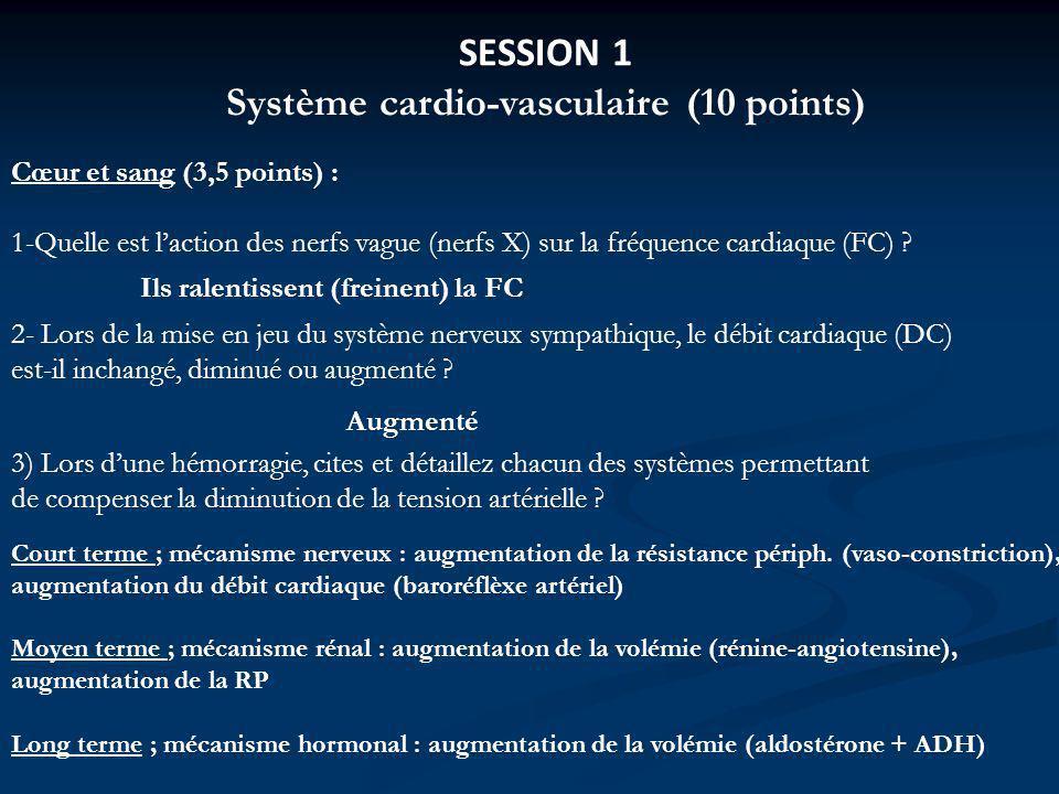 SESSION 1 Système cardio-vasculaire (10 points) Cœur et sang (3,5 points) : 1-Quelle est laction des nerfs vague (nerfs X) sur la fréquence cardiaque (FC) .