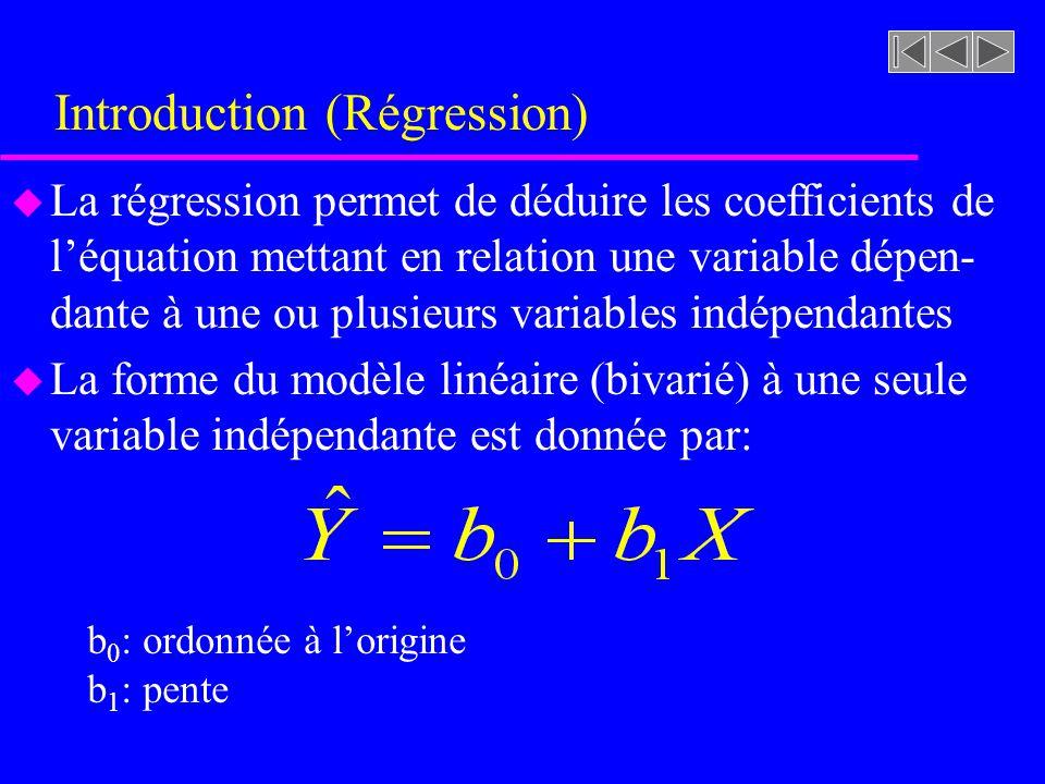 Introduction (Régression) u La régression permet de déduire les coefficients de léquation mettant en relation une variable dépen- dante à une ou plusieurs variables indépendantes u La forme du modèle linéaire (bivarié) à une seule variable indépendante est donnée par: b 0 : ordonnée à lorigine b 1 : pente