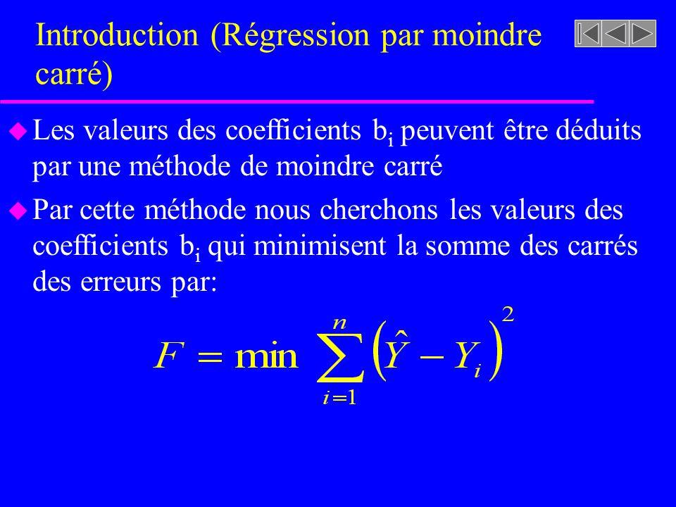 Introduction (Régression par moindre carré) u Les valeurs des coefficients b i peuvent être déduits par une méthode de moindre carré u Par cette méthode nous cherchons les valeurs des coefficients b i qui minimisent la somme des carrés des erreurs par:
