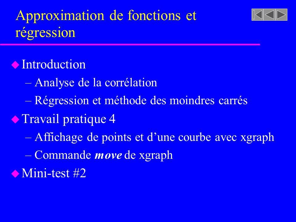 Approximation de fonctions et régression u Introduction –Analyse de la corrélation –Régression et méthode des moindres carrés u Travail pratique 4 –Affichage de points et dune courbe avec xgraph –Commande move de xgraph u Mini-test #2