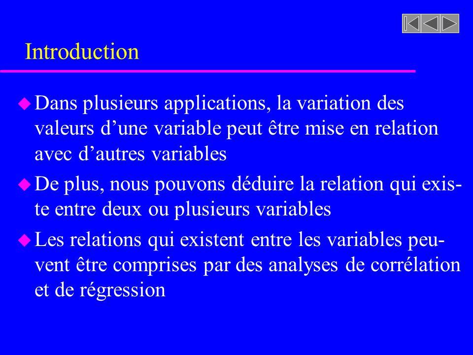 Introduction u Dans plusieurs applications, la variation des valeurs dune variable peut être mise en relation avec dautres variables u De plus, nous pouvons déduire la relation qui exis- te entre deux ou plusieurs variables u Les relations qui existent entre les variables peu- vent être comprises par des analyses de corrélation et de régression