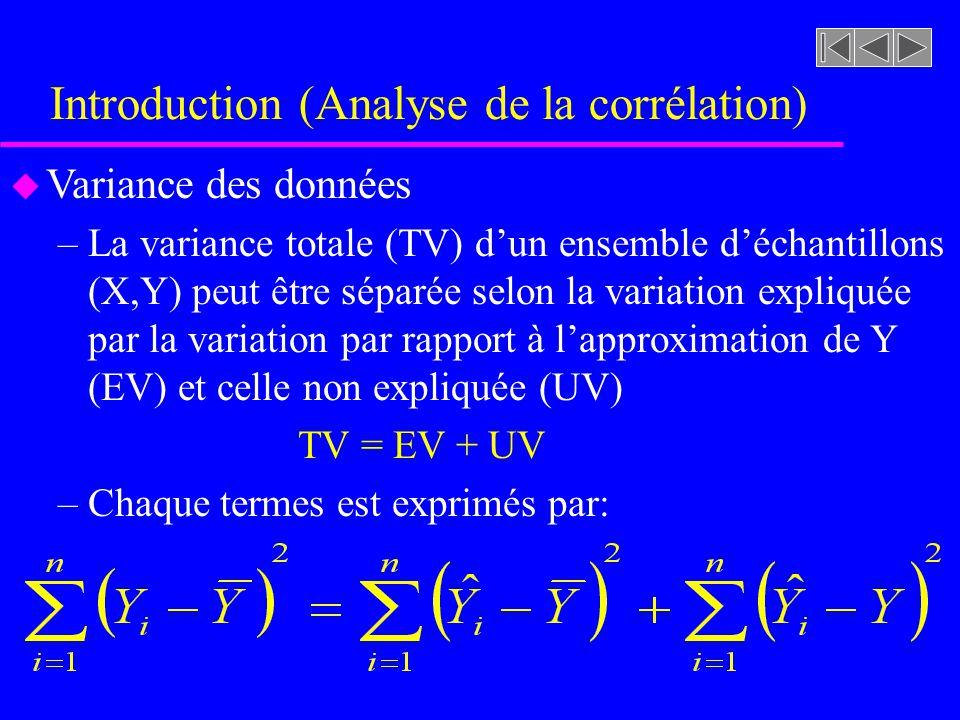 Introduction (Analyse de la corrélation) u Variance des données –La variance totale (TV) dun ensemble déchantillons (X,Y) peut être séparée selon la variation expliquée par la variation par rapport à lapproximation de Y (EV) et celle non expliquée (UV) TV = EV + UV –Chaque termes est exprimés par: