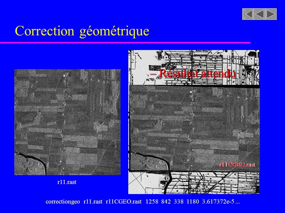 Correction géométrique r11.rast r11CGEO.rast – Résultat attendu cadastreNS4X4.tiffcorrectiongeo r11.rast r11CGEO.rast 1258 842 338 1180 3.617372e-5...
