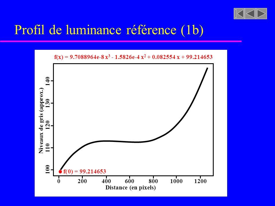 Profil de luminance référence (1b) 200400600800100012000 Distance (en pixels) Niveaux de gris (approx.) 100 110 120 130 140 f(x) = 9.7088964e-8 x 3 - 1.5826e-4 x 2 + 0.082554 x + 99.214653 f( 0) = 99.214653