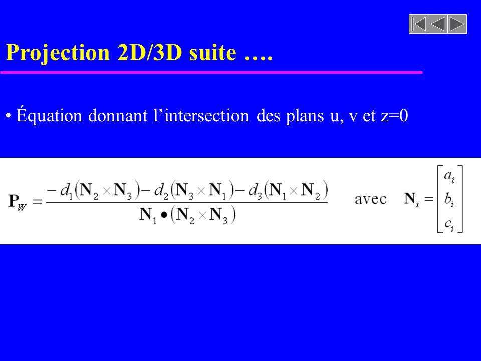 Équation donnant lintersection des plans u, v et z=0