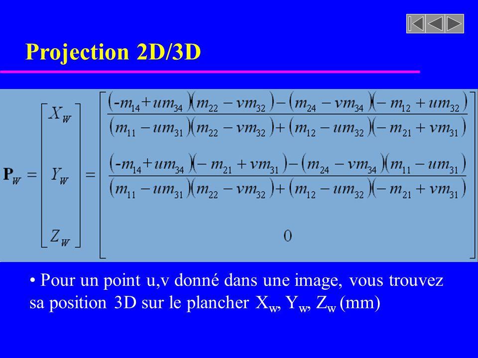 Projection 2D/3D Pour un point u,v donné dans une image, vous trouvez sa position 3D sur le plancher X w, Y w, Z w (mm)