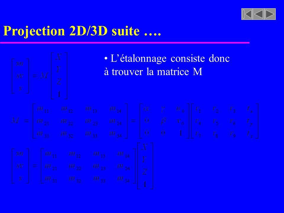 Projection 2D/3D suite …. Létalonnage consiste donc à trouver la matrice M