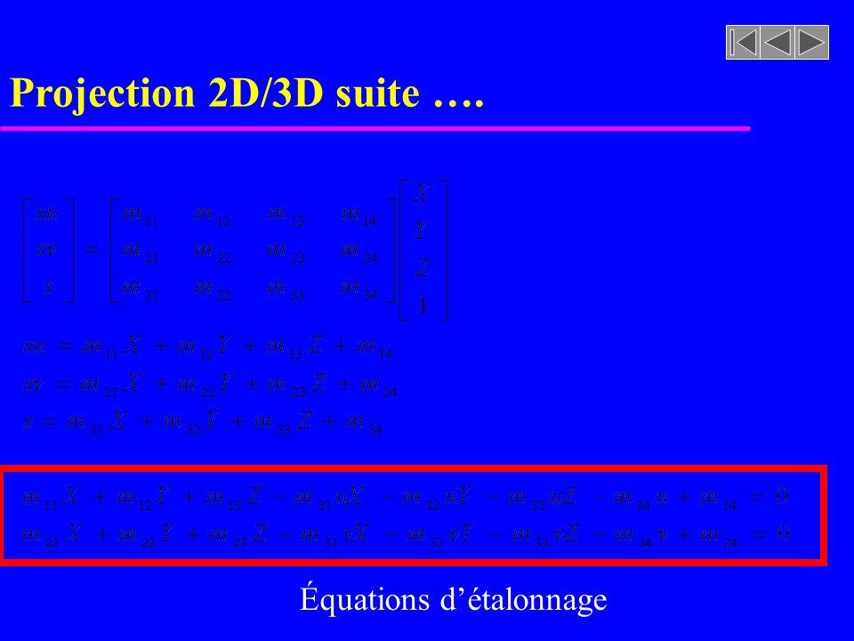 Projection 2D/3D suite …. Équations détalonnage