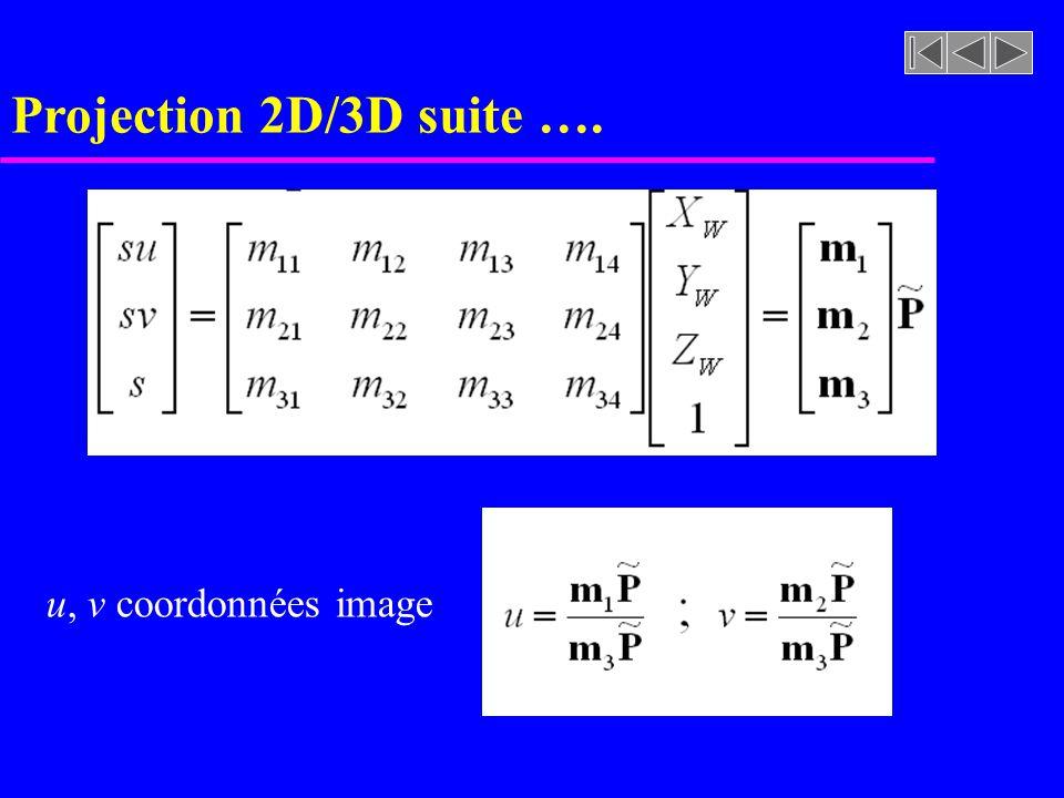 Projection 2D/3D suite …. u, v coordonnées image