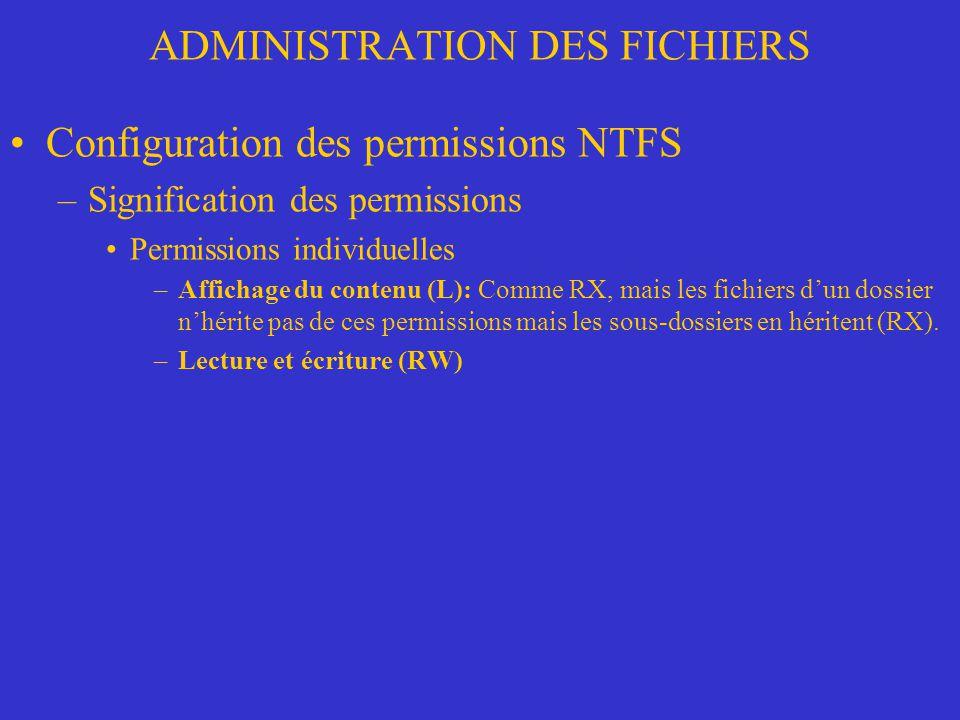 ADMINISTRATION DES FICHIERS Configuration des permissions NTFS –Signification des permissions Permissions individuelles –Affichage du contenu (L): Com
