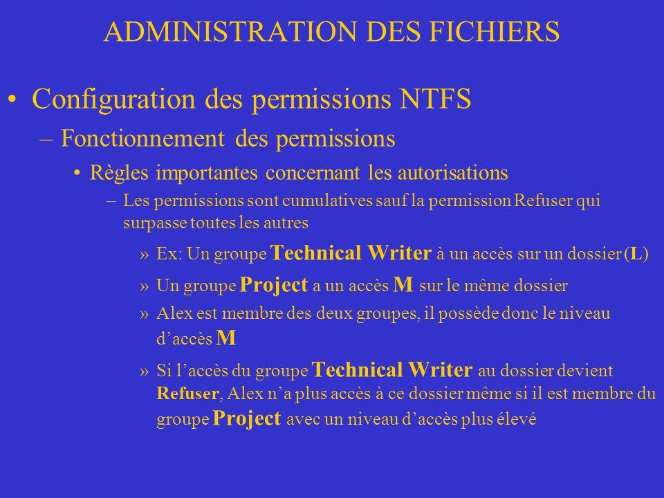 ADMINISTRATION DES FICHIERS Configuration des permissions NTFS –Fonctionnement des permissions Règles importantes concernant les autorisations –Les pe