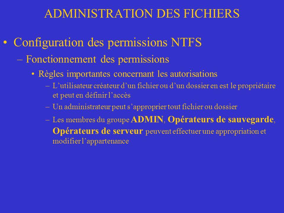 ADMINISTRATION DES FICHIERS Configuration des permissions NTFS –Fonctionnement des permissions Règles importantes concernant les autorisations –Lutili