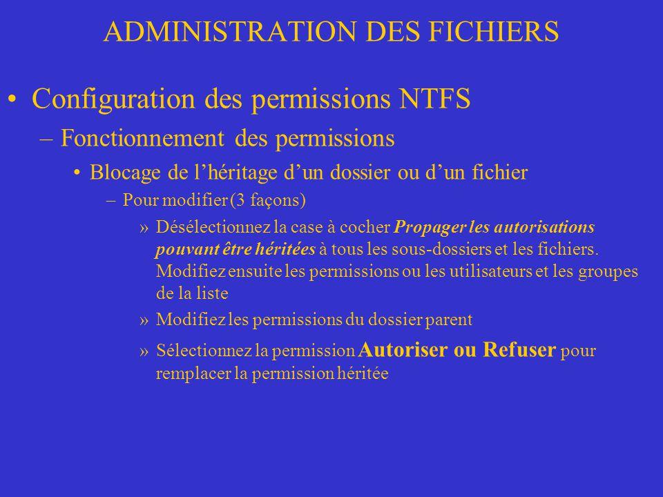 ADMINISTRATION DES FICHIERS Configuration des permissions NTFS –Fonctionnement des permissions Blocage de lhéritage dun dossier ou dun fichier –Pour m