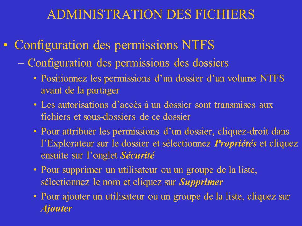 ADMINISTRATION DES FICHIERS Configuration des permissions NTFS –Configuration des permissions des dossiers Positionnez les permissions dun dossier dun
