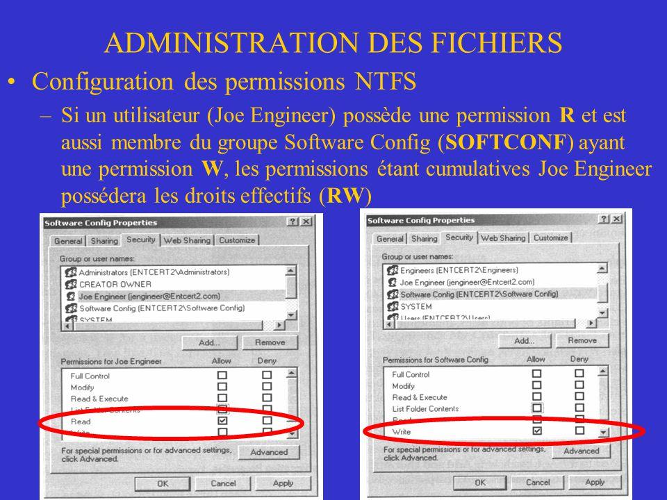 ADMINISTRATION DES FICHIERS Configuration des permissions NTFS –Si un utilisateur (Joe Engineer) possède une permission R et est aussi membre du group