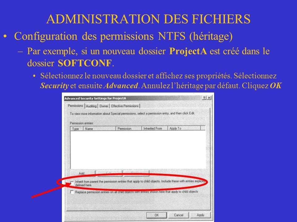 ADMINISTRATION DES FICHIERS Configuration des permissions NTFS (héritage) –Par exemple, si un nouveau dossier ProjectA est créé dans le dossier SOFTCO