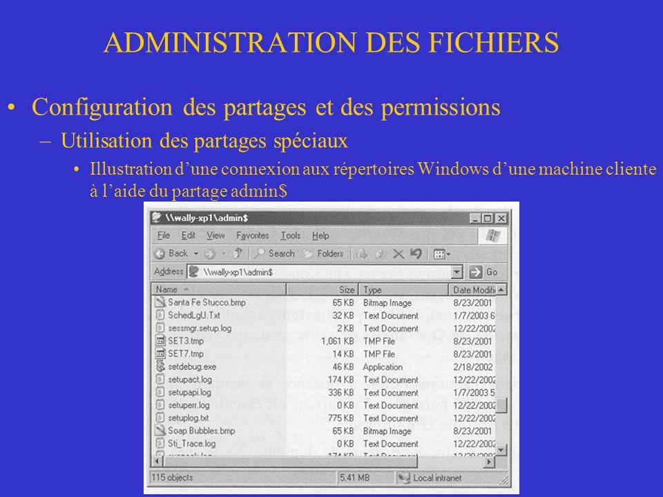 ADMINISTRATION DES FICHIERS Configuration des permissions NTFS –Fonctionnement des permissions Blocage de lhéritage dun dossier ou dun fichier –Si les cases à cocher des permissions sont ombrées, ces permissions sont héritées dun objet parent –Si les cases à cocher sont ombrées et contiennent un crochet, certaines permissions sont héritées et dautres ont été ajoutées