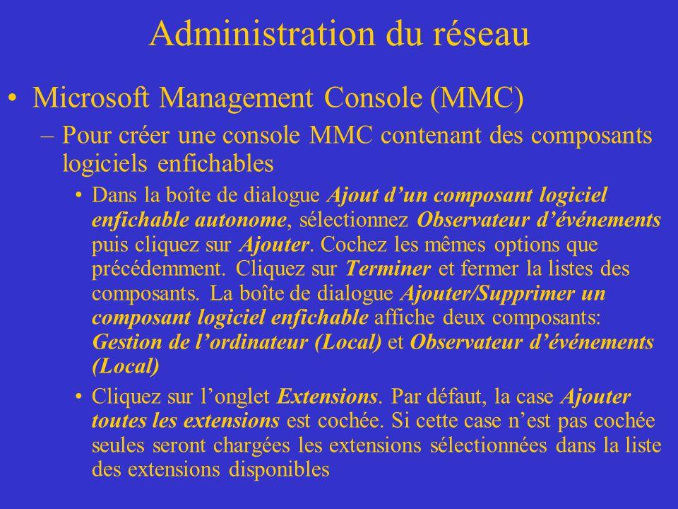 Administration du réseau Microsoft Management Console (MMC) –Pour créer une console MMC contenant des composants logiciels enfichables Dans la boîte d