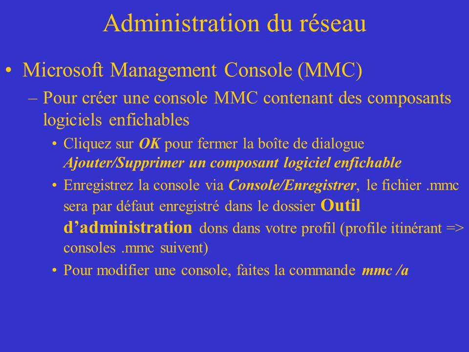 Administration du réseau Microsoft Management Console (MMC) –Pour créer une console MMC contenant des composants logiciels enfichables Cliquez sur OK