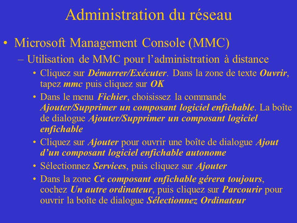 Administration du réseau Microsoft Management Console (MMC) –Utilisation de MMC pour ladministration à distance Cliquez sur Démarrer/Exécuter. Dans la