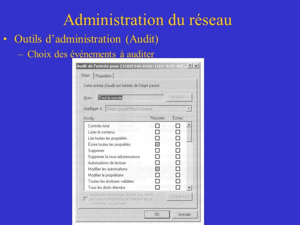 Administration du réseau Outils dadministration (Audit) –Choix des événements à auditer