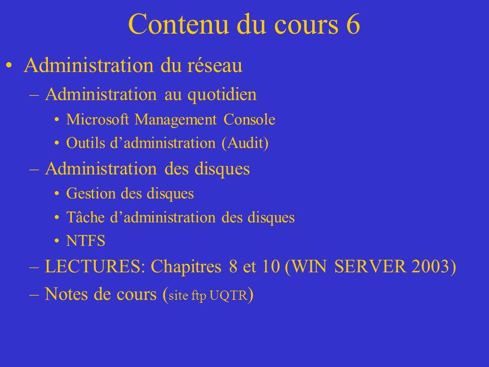 Contenu du cours 6 Administration du réseau –Administration au quotidien Microsoft Management Console Outils dadministration (Audit) –Administration d