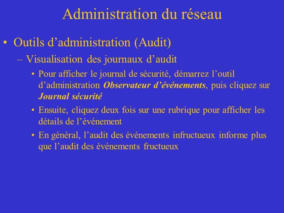 Administration du réseau Outils dadministration (Audit) –Visualisation des journaux daudit Pour afficher le journal de sécurité, démarrez loutil dadmi