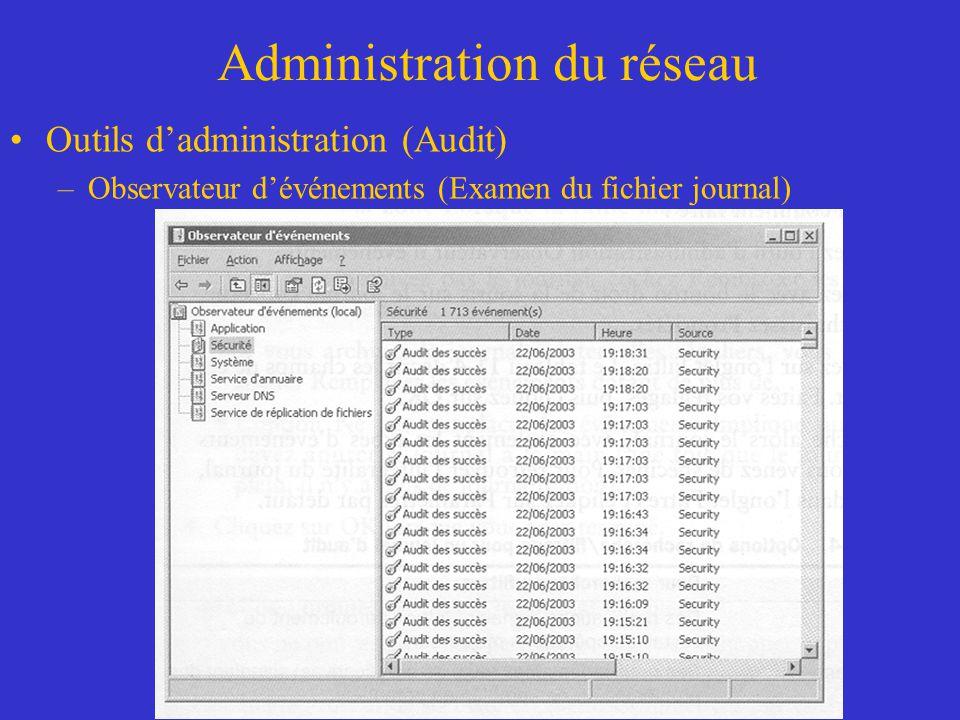 Administration du réseau Outils dadministration (Audit) –Observateur dévénements (Examen du fichier journal)