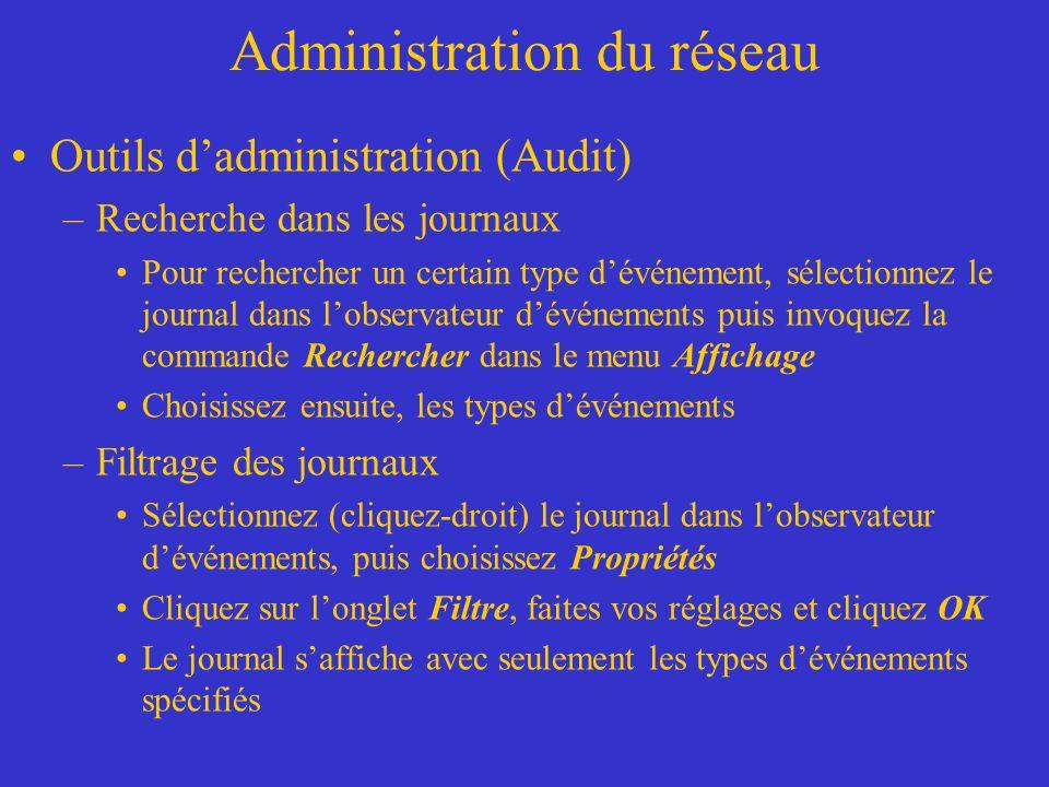 Administration du réseau Outils dadministration (Audit) –Recherche dans les journaux Pour rechercher un certain type dévénement, sélectionnez le journ