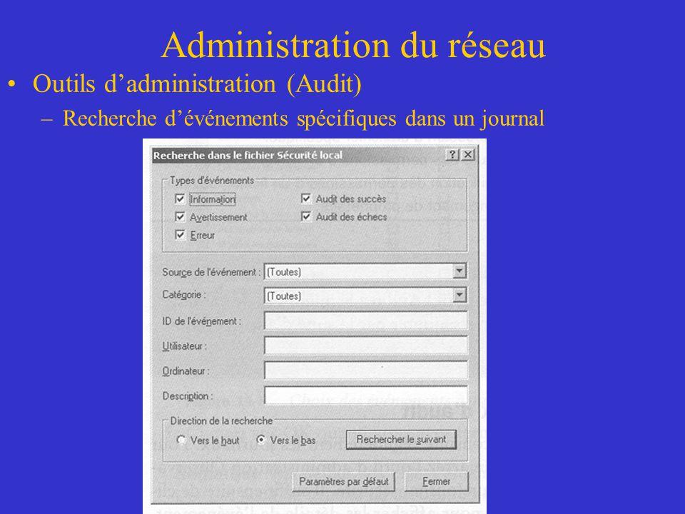 Administration du réseau Outils dadministration (Audit) –Recherche dévénements spécifiques dans un journal