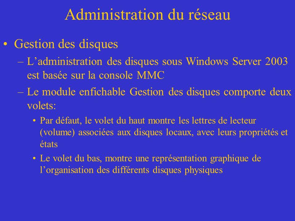 Administration du réseau Gestion des disques –Ladministration des disques sous Windows Server 2003 est basée sur la console MMC –Le module enfichable