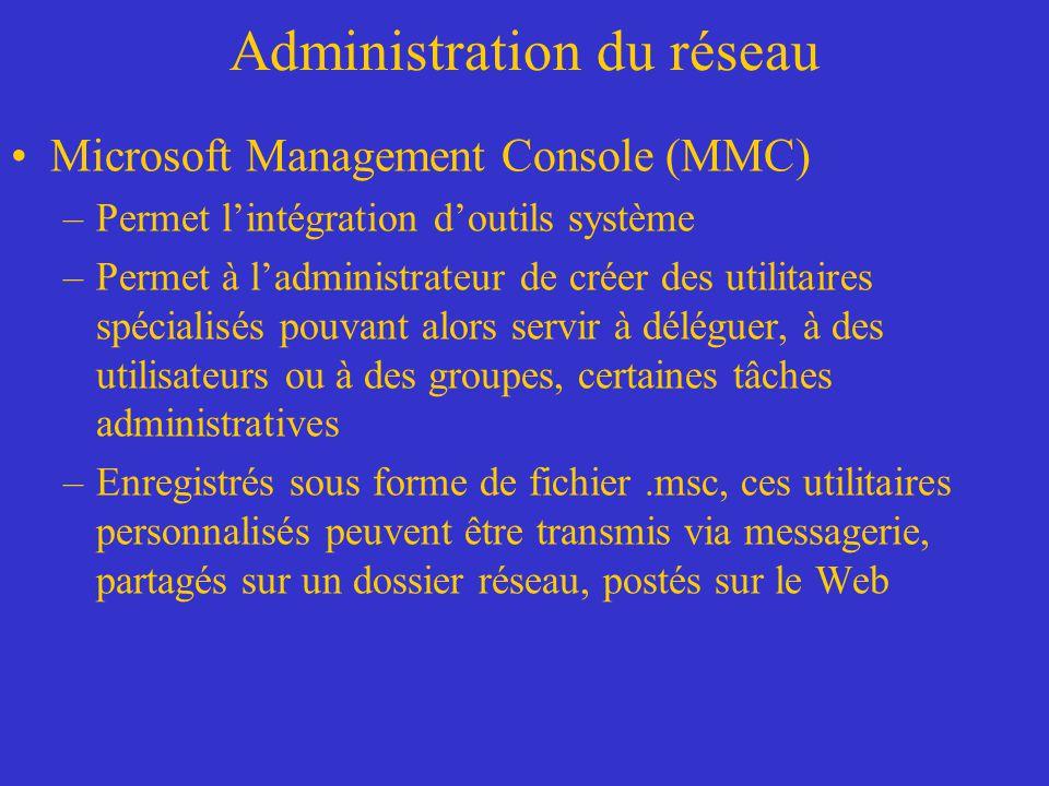 Administration du réseau Microsoft Management Console (MMC) –Permet lintégration doutils système –Permet à ladministrateur de créer des utilitaires sp