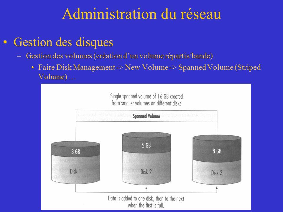 Administration du réseau Gestion des disques –Gestion des volumes (création dun volume répartis/bande) Faire Disk Management -> New Volume -> Spanned