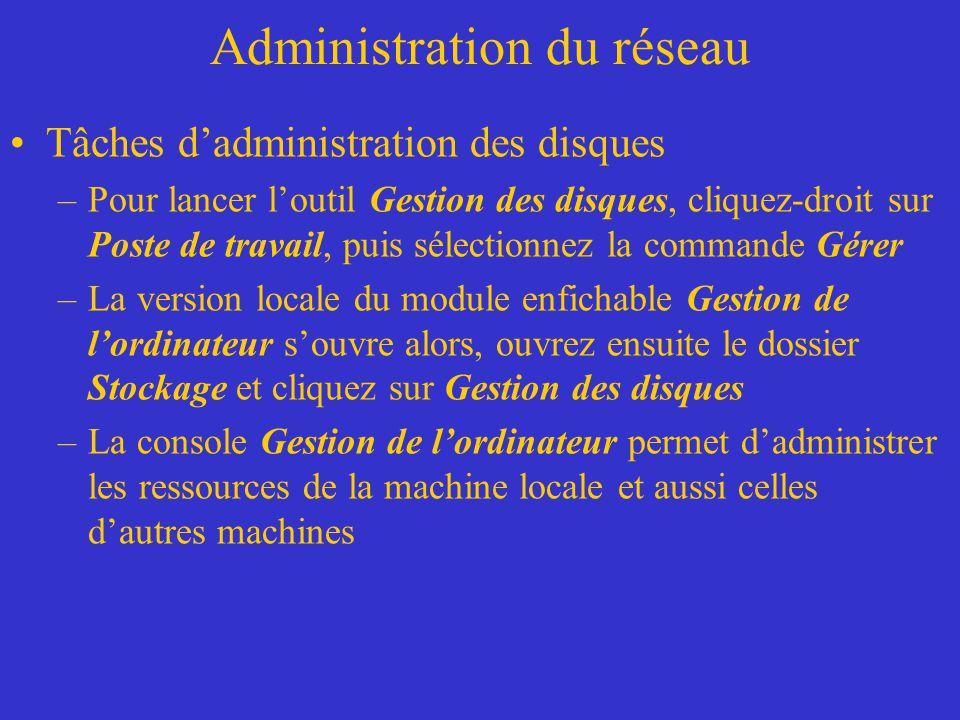 Administration du réseau Tâches dadministration des disques –Pour lancer loutil Gestion des disques, cliquez-droit sur Poste de travail, puis sélectio