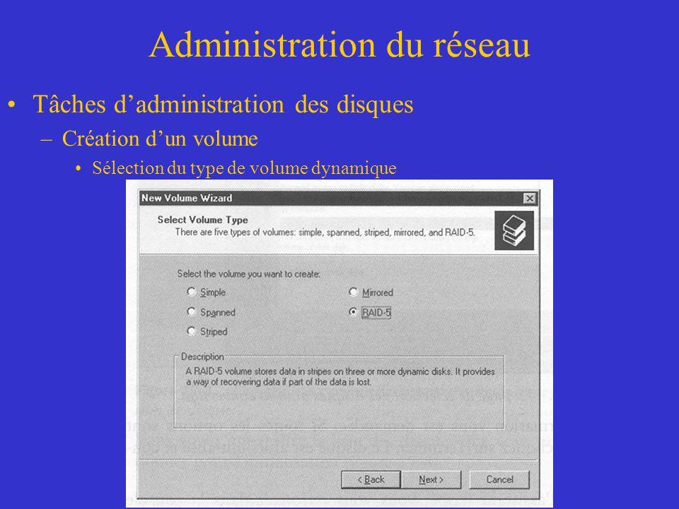 Administration du réseau Tâches dadministration des disques –Création dun volume Sélection du type de volume dynamique