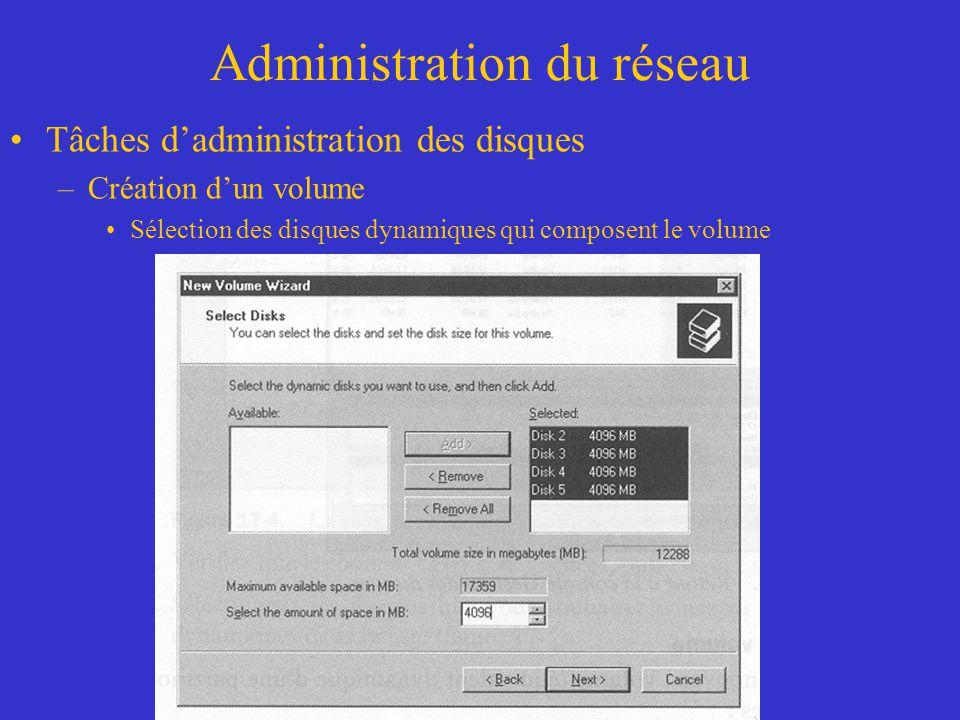 Administration du réseau Tâches dadministration des disques –Création dun volume Sélection des disques dynamiques qui composent le volume