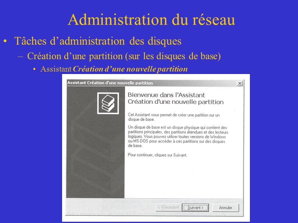 Administration du réseau Tâches dadministration des disques –Création dune partition (sur les disques de base) Assistant Création dune nouvelle partit