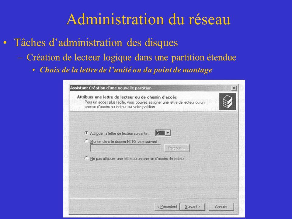 Administration du réseau Tâches dadministration des disques –Création de lecteur logique dans une partition étendue Choix de la lettre de lunité ou du
