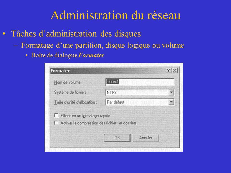 Administration du réseau Tâches dadministration des disques –Formatage dune partition, disque logique ou volume Boîte de dialogue Formater