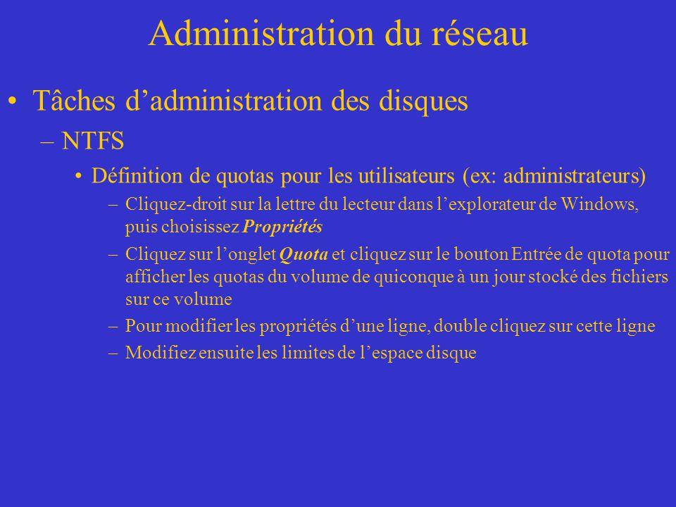 Administration du réseau Tâches dadministration des disques –NTFS Définition de quotas pour les utilisateurs (ex: administrateurs) –Cliquez-droit sur
