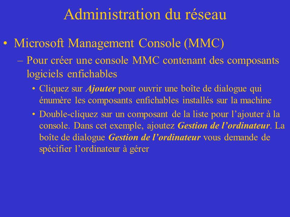 Administration du réseau Microsoft Management Console (MMC) –Pour créer une console MMC contenant des composants logiciels enfichables Cliquez sur Ajo