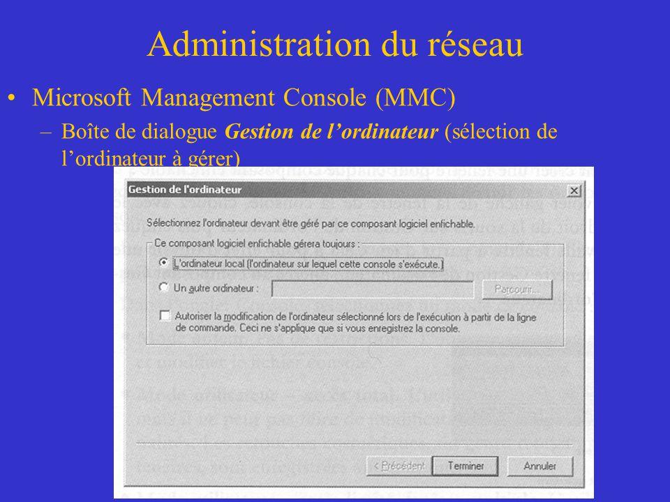 Administration du réseau Microsoft Management Console (MMC) –Boîte de dialogue Gestion de lordinateur (sélection de lordinateur à gérer)