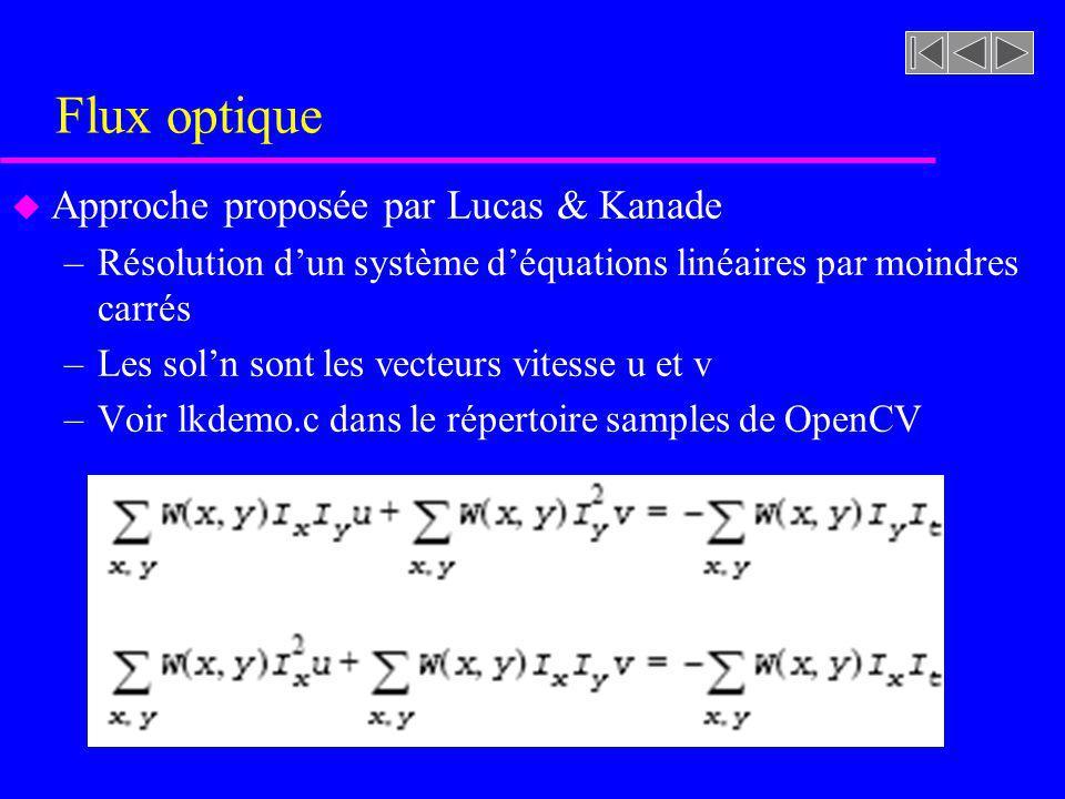 Flux optique u Approche proposée par Lucas & Kanade –Résolution dun système déquations linéaires par moindres carrés –Les soln sont les vecteurs vitesse u et v –Voir lkdemo.c dans le répertoire samples de OpenCV