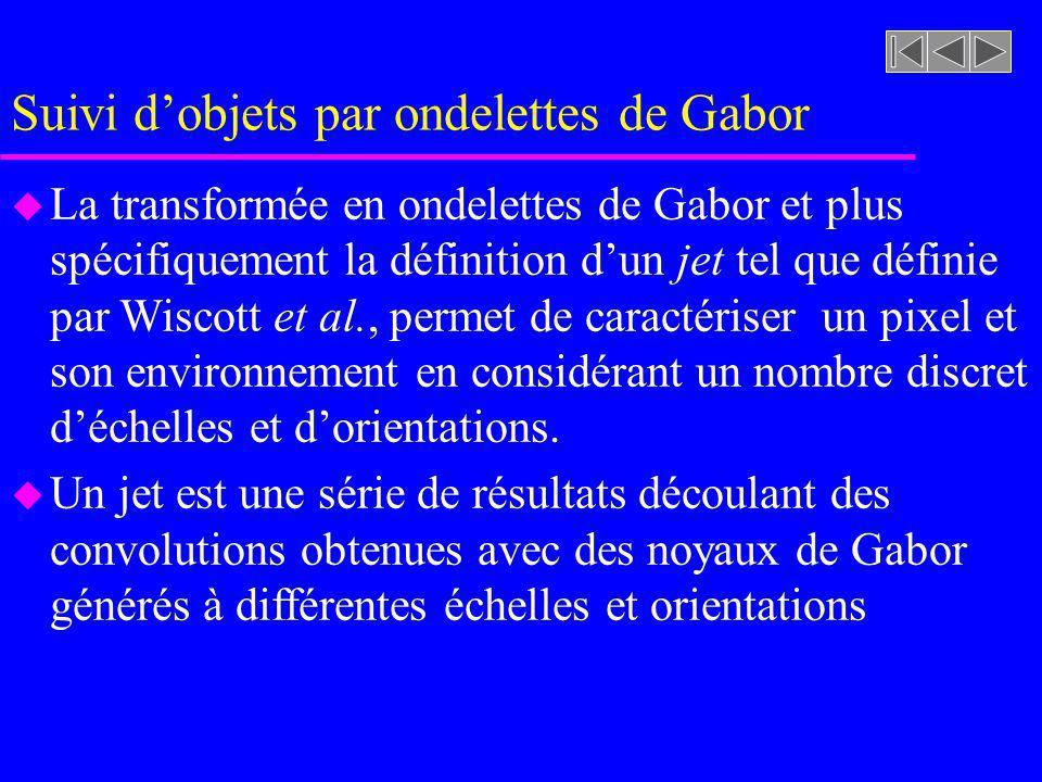 u La transformée en ondelettes de Gabor et plus spécifiquement la définition dun jet tel que définie par Wiscott et al., permet de caractériser un pixel et son environnement en considérant un nombre discret déchelles et dorientations.