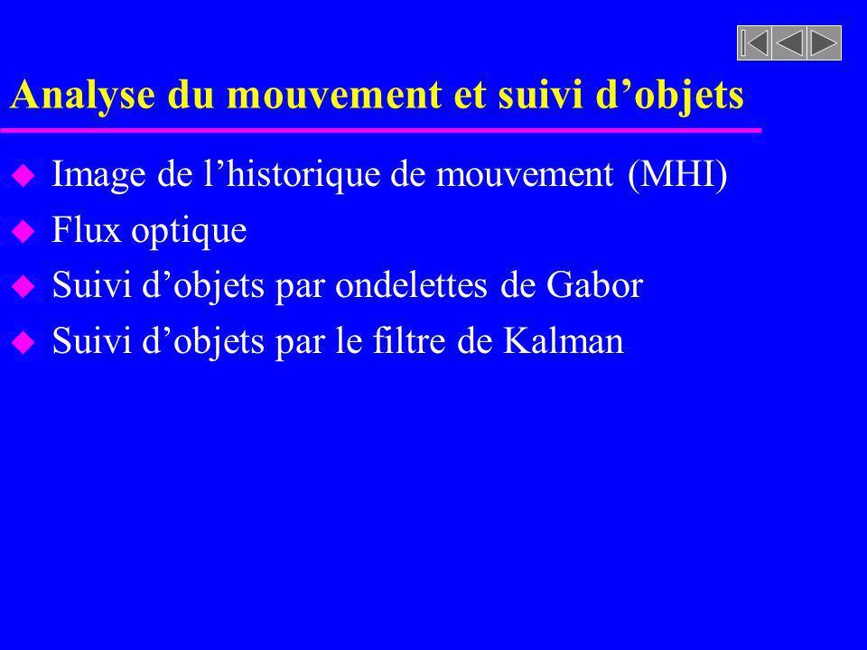 Analyse du mouvement et suivi dobjets u Image de lhistorique de mouvement (MHI) u Flux optique u Suivi dobjets par ondelettes de Gabor u Suivi dobjets par le filtre de Kalman
