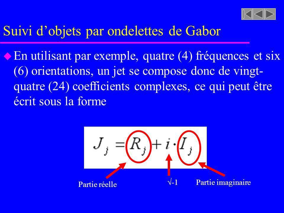 Suivi dobjets par ondelettes de Gabor u En utilisant par exemple, quatre (4) fréquences et six (6) orientations, un jet se compose donc de vingt- quatre (24) coefficients complexes, ce qui peut être écrit sous la forme Partie réelle Partie imaginaire