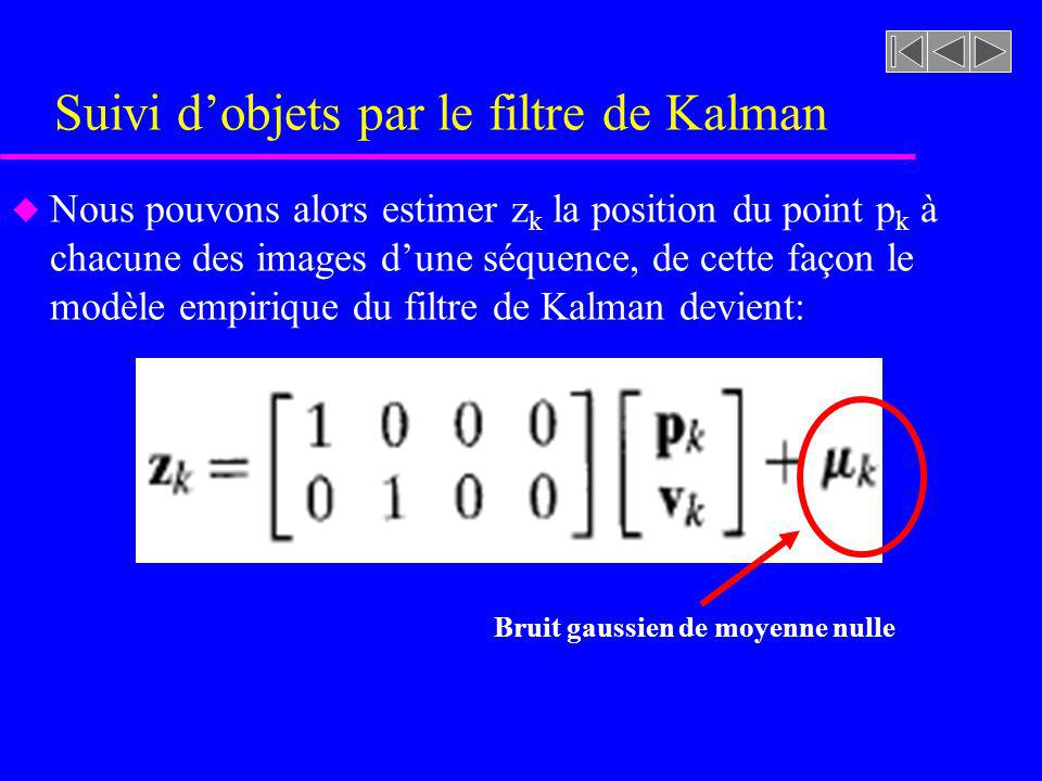 Suivi dobjets par le filtre de Kalman u Nous pouvons alors estimer z k la position du point p k à chacune des images dune séquence, de cette façon le modèle empirique du filtre de Kalman devient: Bruit gaussien de moyenne nulle