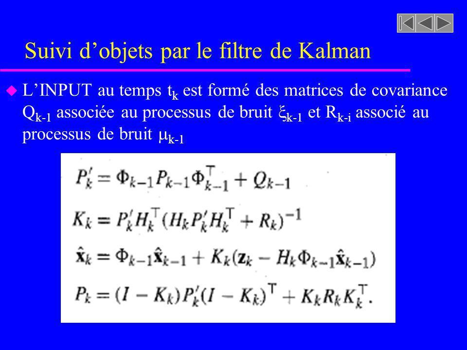 Suivi dobjets par le filtre de Kalman u LINPUT au temps t k est formé des matrices de covariance Q k-1 associée au processus de bruit k-1 et R k-i associé au processus de bruit k-1