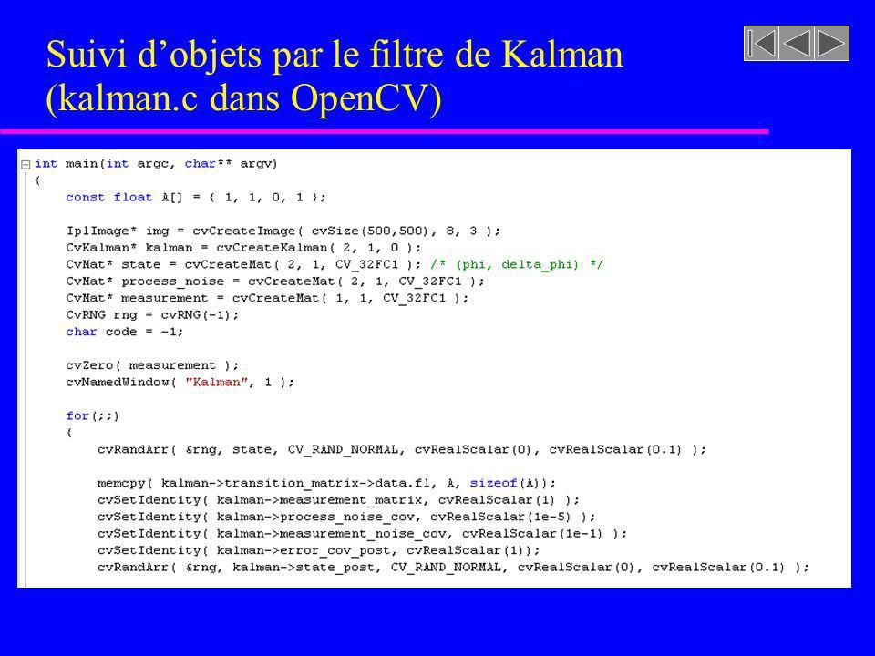Suivi dobjets par le filtre de Kalman (kalman.c dans OpenCV)